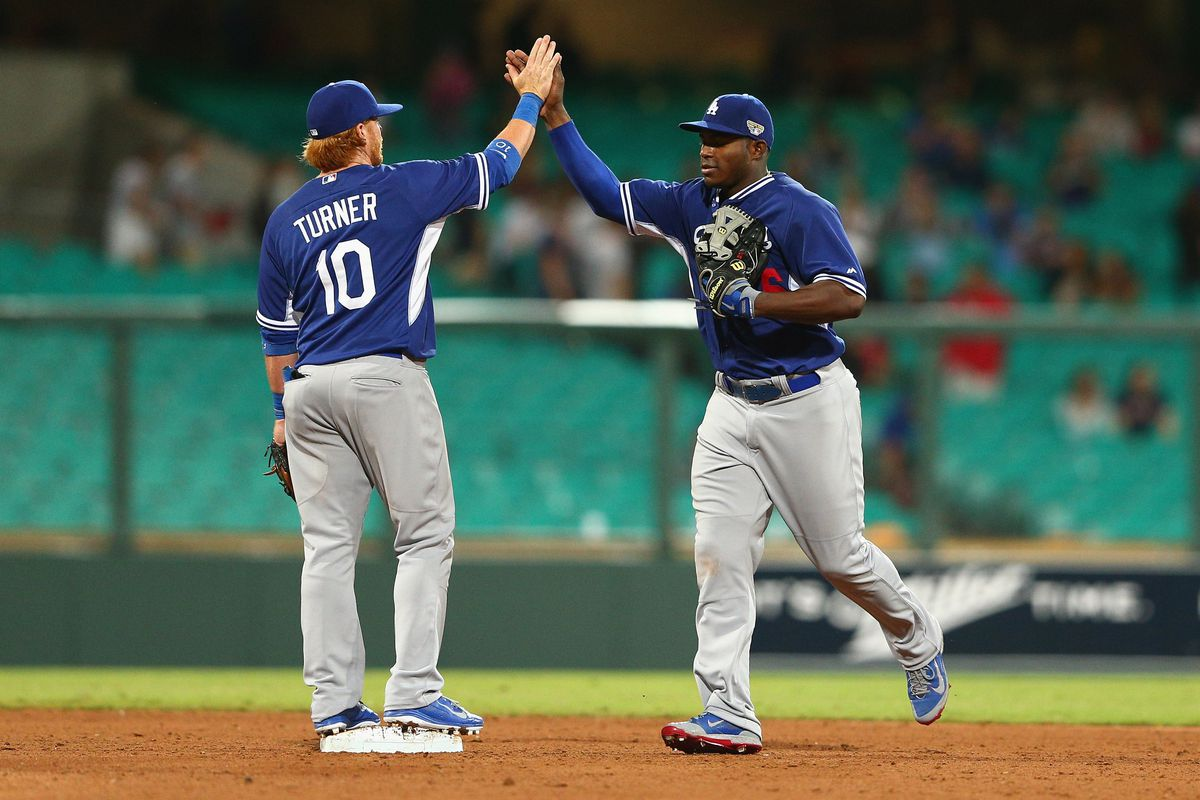 The top two of the Dodgers batting order on Saturday morning in Sydney.