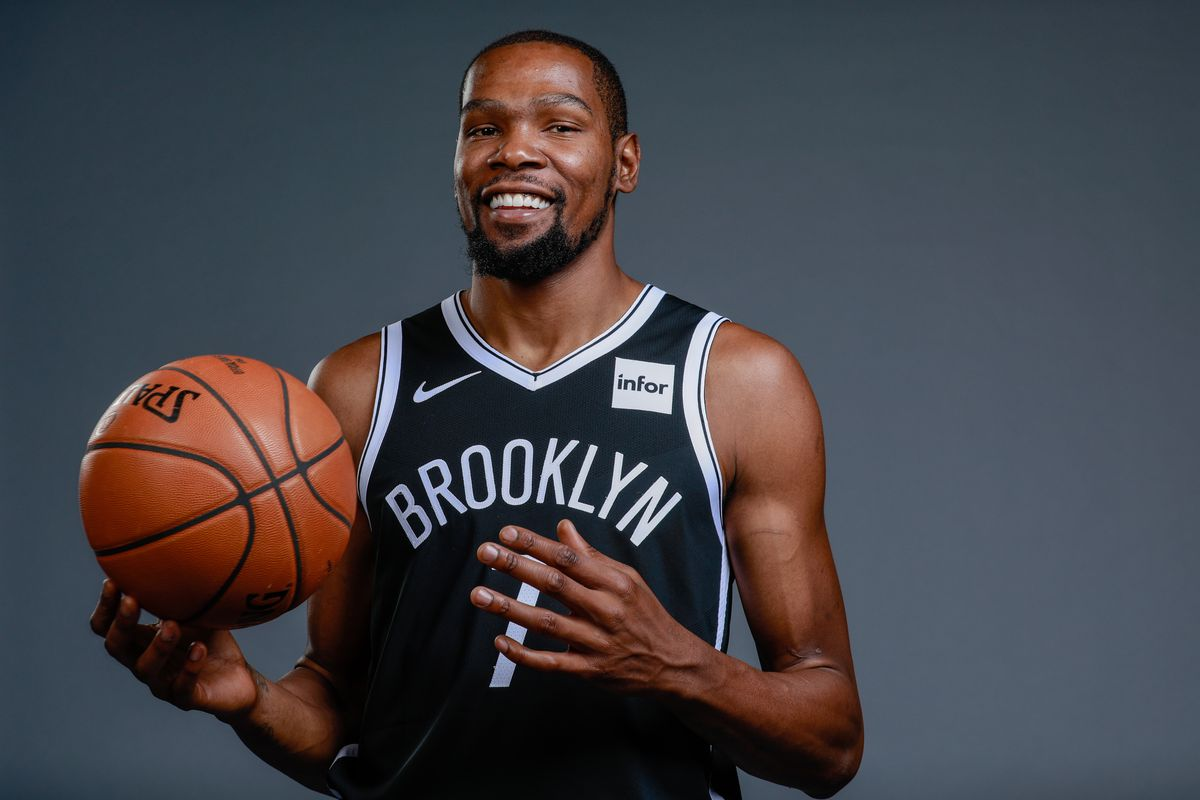 Brooklyn Nets forward Kevin Durant poses for a portrait during media day at HSS Training Center.
