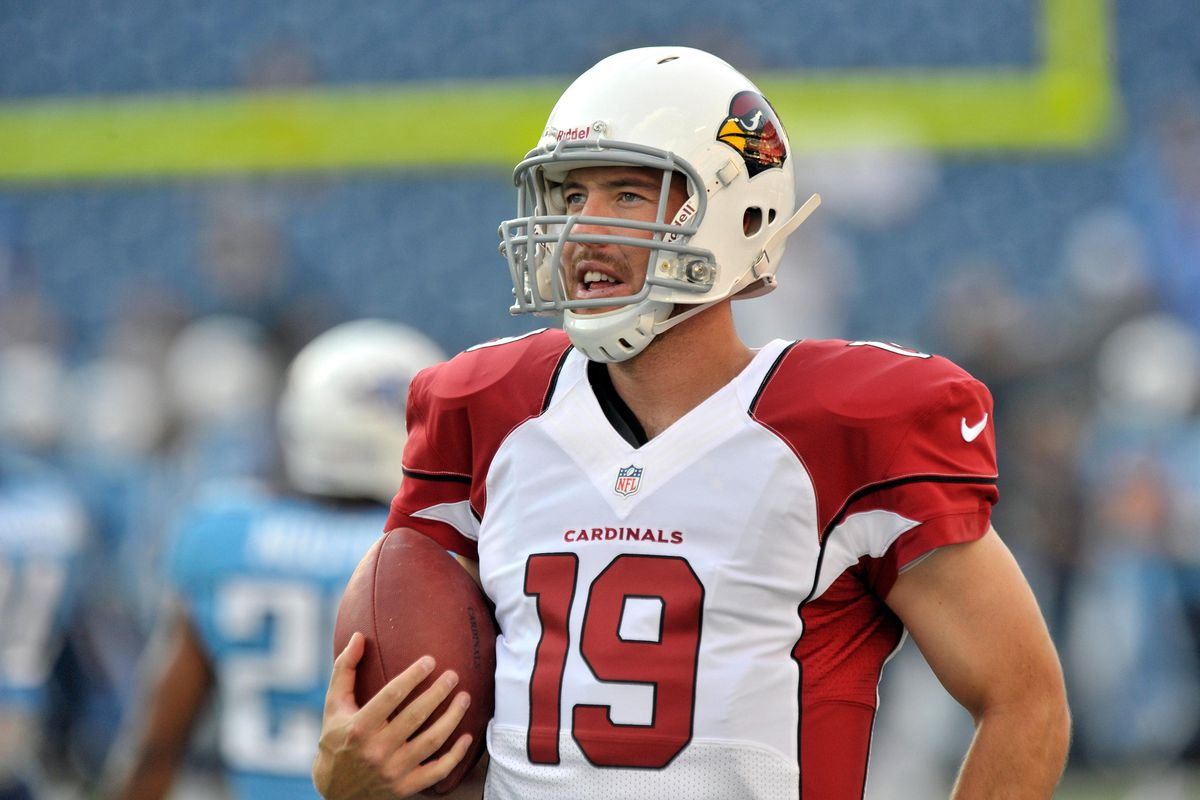 Aug 23, 2012; Nashville, TN, USA; Arizona Cardinals quarterback John Skelton (19) during warm up prior to the game against the Tennessee Titans at LP Field. Mandatory Credit: Jim Brown-US PRESSWIRE