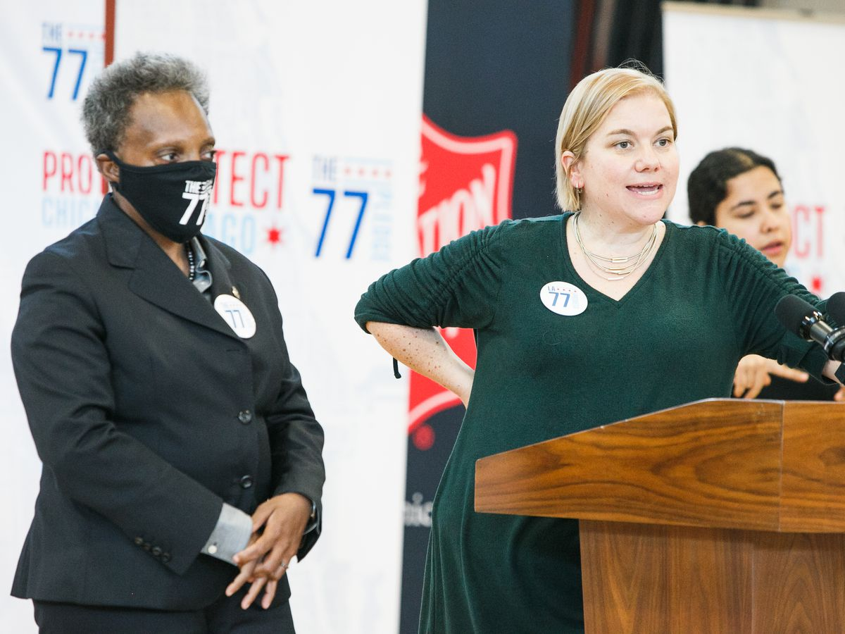 Mayor Lori Lightfoot and Dr. Allison Arwady answer questions at the Salvation Army's Red Shield Center in the Englewood neighborhood Thursday morning, Sept. 23, 2021. Mark Capapas/Sun-Times