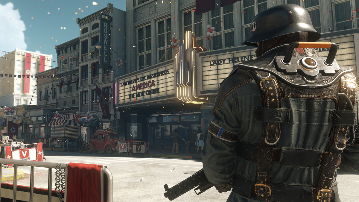 Wolfenstein 2: The New Colossus - Nazi parade down street in Roswell, New Mexico