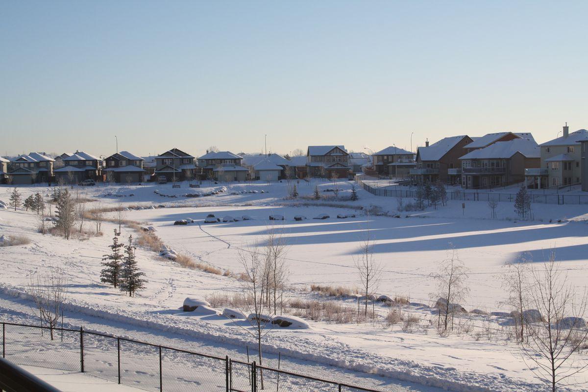 A typical soccer field in Edmonton in November.