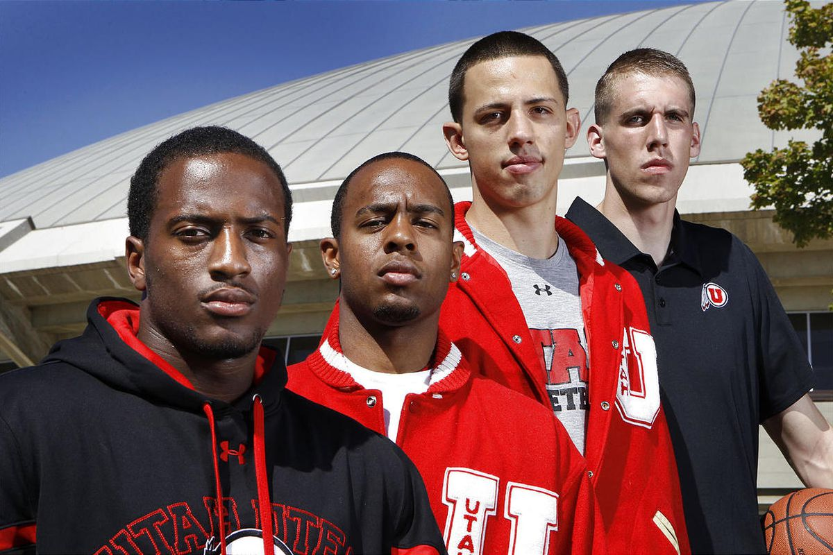 Josh Watkins, Chris Hines, Jason Washburn and David Foster, (from left) the four returning players to the University of Utah basketball team Wednesday, Sept. 28, 2011, in Salt Lake City, Utah.