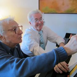 """Lyricist Sheldon Harnick and Michael Ballam work on the musical score for """"Fiddler on the Roof,"""" which was performed at Utah Festival Opera and Musical Theatre in 2013 with Harnick coaching Ballam in the role of Tevye."""