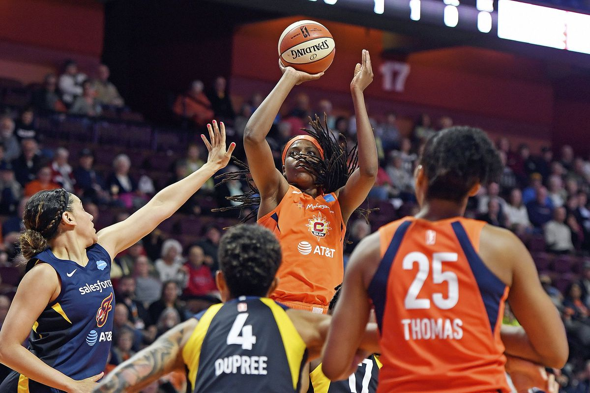 Connecticut Sun center Jonquel Jones shoots over the Indiana Fever defense during a WNBA basketball game, in Uncasville, Conn. Led by Jones, the Sun (8-1) have won their last six games and have started to put a little distance between themselves and the r