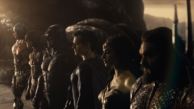 the Justice League assembled on the edge of a cliff in Zack Snyder's Justice League