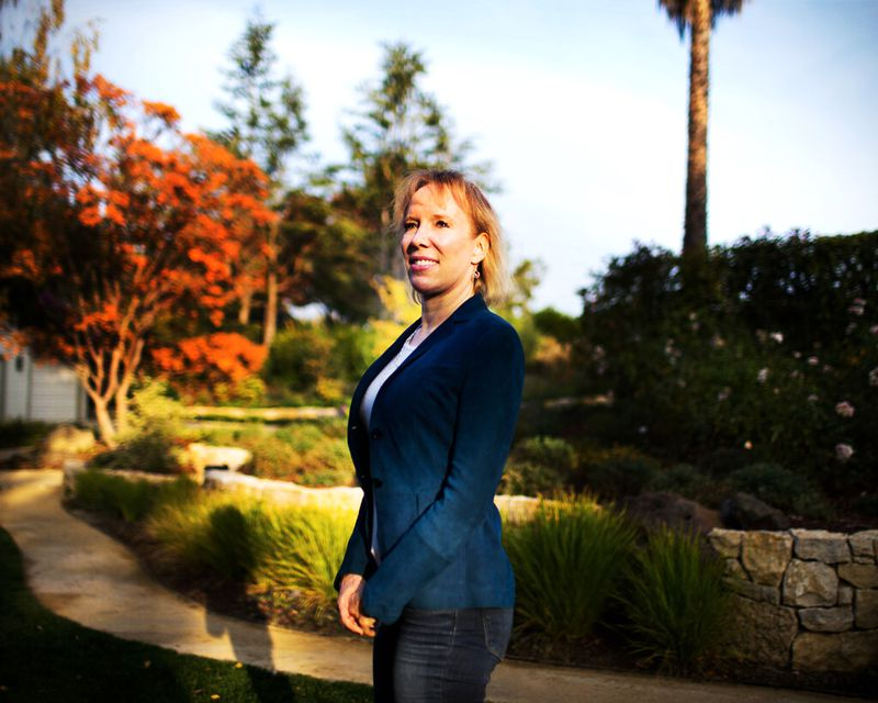 Karla Jurvetson poses outside her home in Los Altos Hills, California.