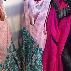 Blush square v-neck dress, $695 (was $2,495)