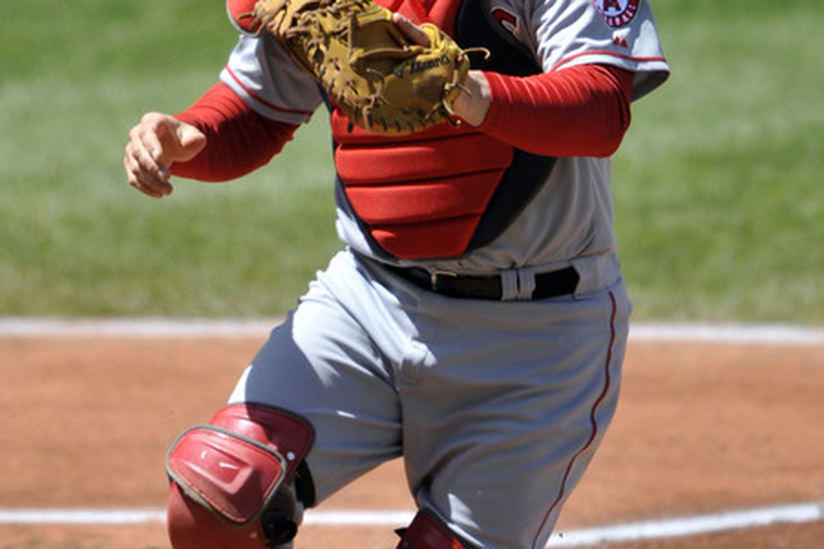 Apr 29, 2012; Cleveland, OH, USA; Los Angeles Angels catcher Chris Iannetta (17) looks for a popup in the second inning against the Cleveland Indians at Progressive Field. Mandatory Credit: David Richard-US PRESSWIRE
