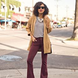 """Grasie of <a href=""""http://www.grasiemercedes.com""""target=""""_blank"""">Style Me Grasie</a> is wearing Goldsign pants, an American Apparel shirt, an Express necklace, a <a href=""""http://shop.nordstrom.com/s/brahmin-tuscan-oxford-crossbody-bag/3575097?cm_cat=dataf"""