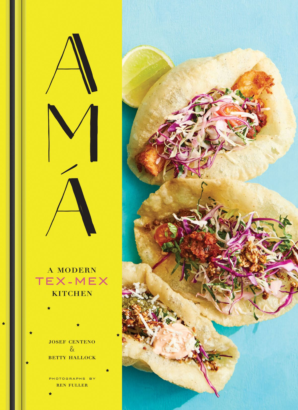 """Cover of """"Ama"""" cookbook, showing tacos and text in bright vibrant yellow and blue"""