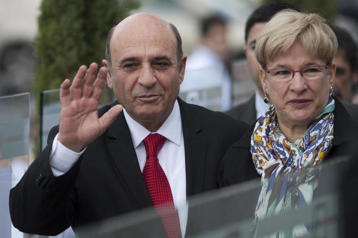 FILE - In this March 27, 2012 file photo Israel's Kadima Party leader Shaul Mofaz waves as his wife Orit walks with him to a polling station in Kfar Saba, Israel. Mofaz said Tuesday, April 24, 2012, that the biggest danger facing the country is being repl