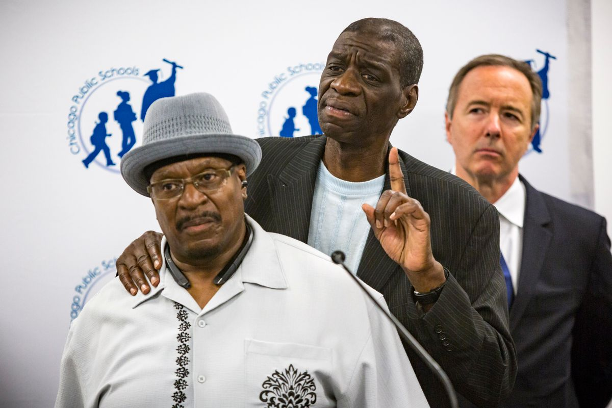 Anthony Holmes and Darrell Cannon, victims of the former Police Commander Jon Burge, appeared at a press conference in 2017 to unveil the Burge reparations curriculum. | James Foster/For the Sun-Times