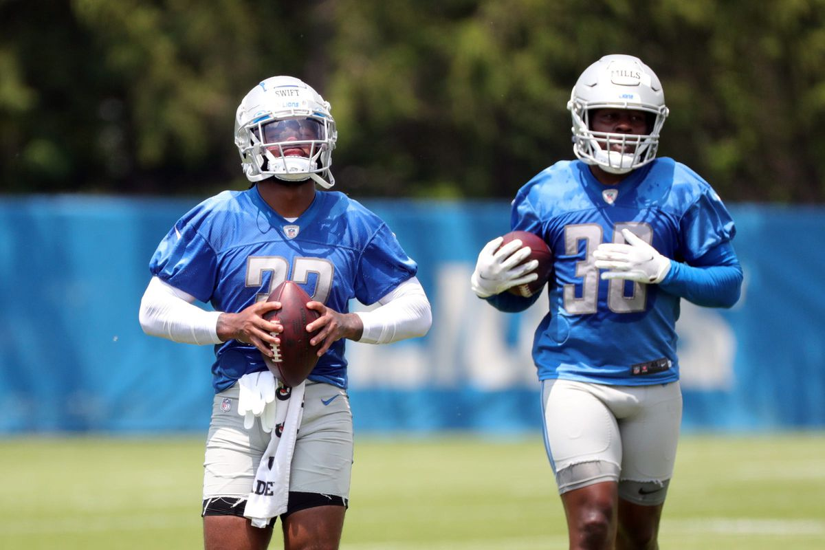 Detroit Lions running backs D'Andre Swift and Jamaal Williams on the field during minicamp practice Wednesday, June 9, 2021, at then Allen Park practice facility in Detroit. Lions