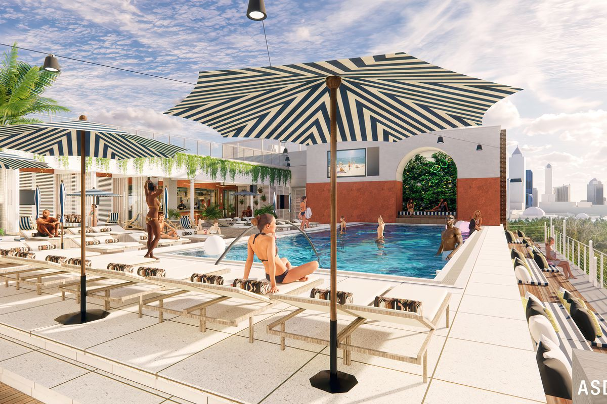 A rendering of a Miami-style pool with umbrellas and lounge chairs on the roof of the Interlock