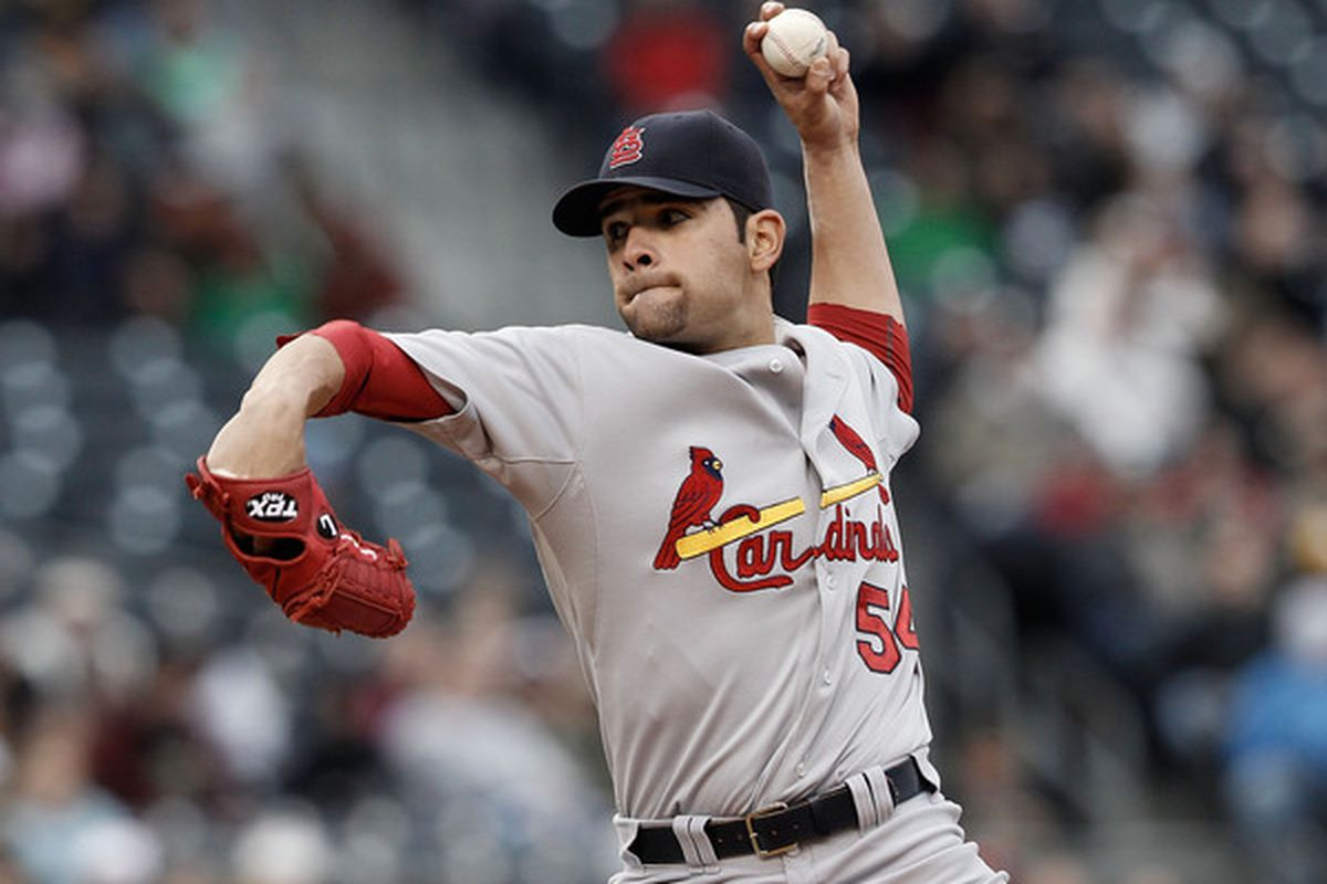 PITTSBURGH - MAY 08:  Jaime Garcia #54 of the St Louis Cardinals pitches against the Pittsburgh Pirates during the game on May 8, 2010 at PNC Park in Pittsburgh, Pennsylvania.  (Photo by Jared Wickerham/Getty Images)