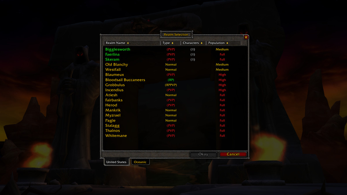 World of Warcraft Classic's server images