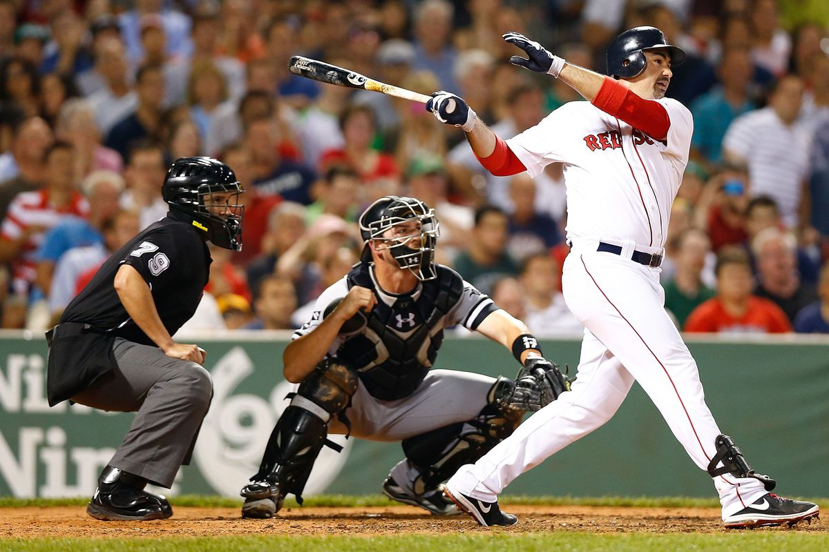 BOSTON, MA - JULY 18:  Adrian Gonzalez #28 of the Boston Red Sox hits a two run double against the Chicago White Sox in the 6th inning during the game on July 18, 2012 at Fenway Park in Boston, Massachusetts.  (Photo by Jared Wickerham/Getty Images)