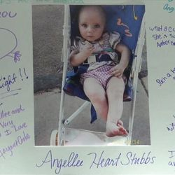 Violet Jessop talks about the death of her daughter.__AngelLee Stubbs, left, with older sister LeVonica, 9, in a photograph on a poster hanging in their mother's room at Kolob Regional Care and Rehabilitation Center.__