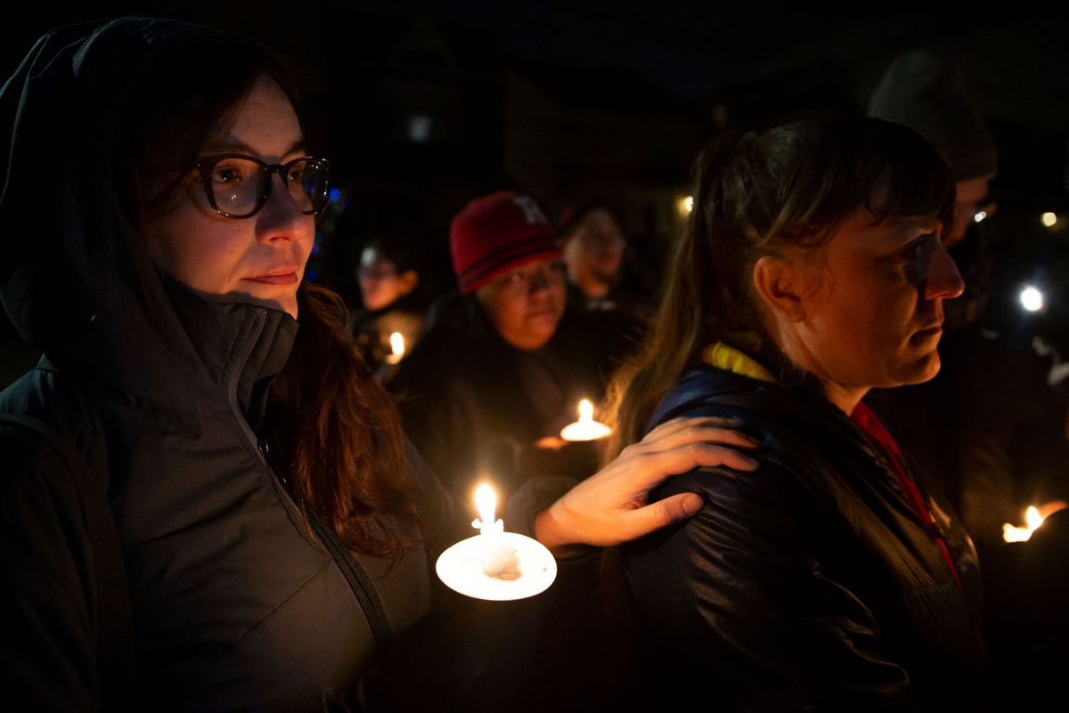 Brooklyn community members hold a vigil for Erik Diaz.