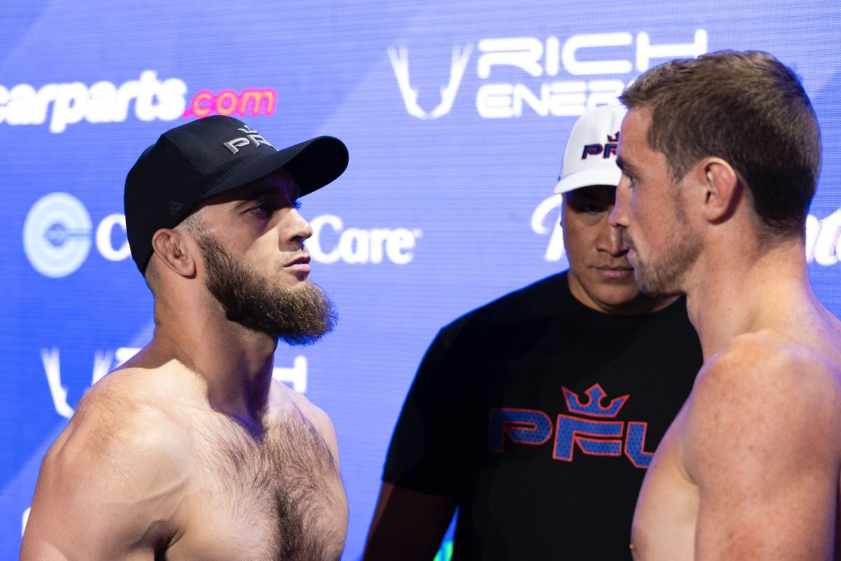Brendan Loughnane and Movlid Khabulaev make weight for their PFL featherweight semifinal.