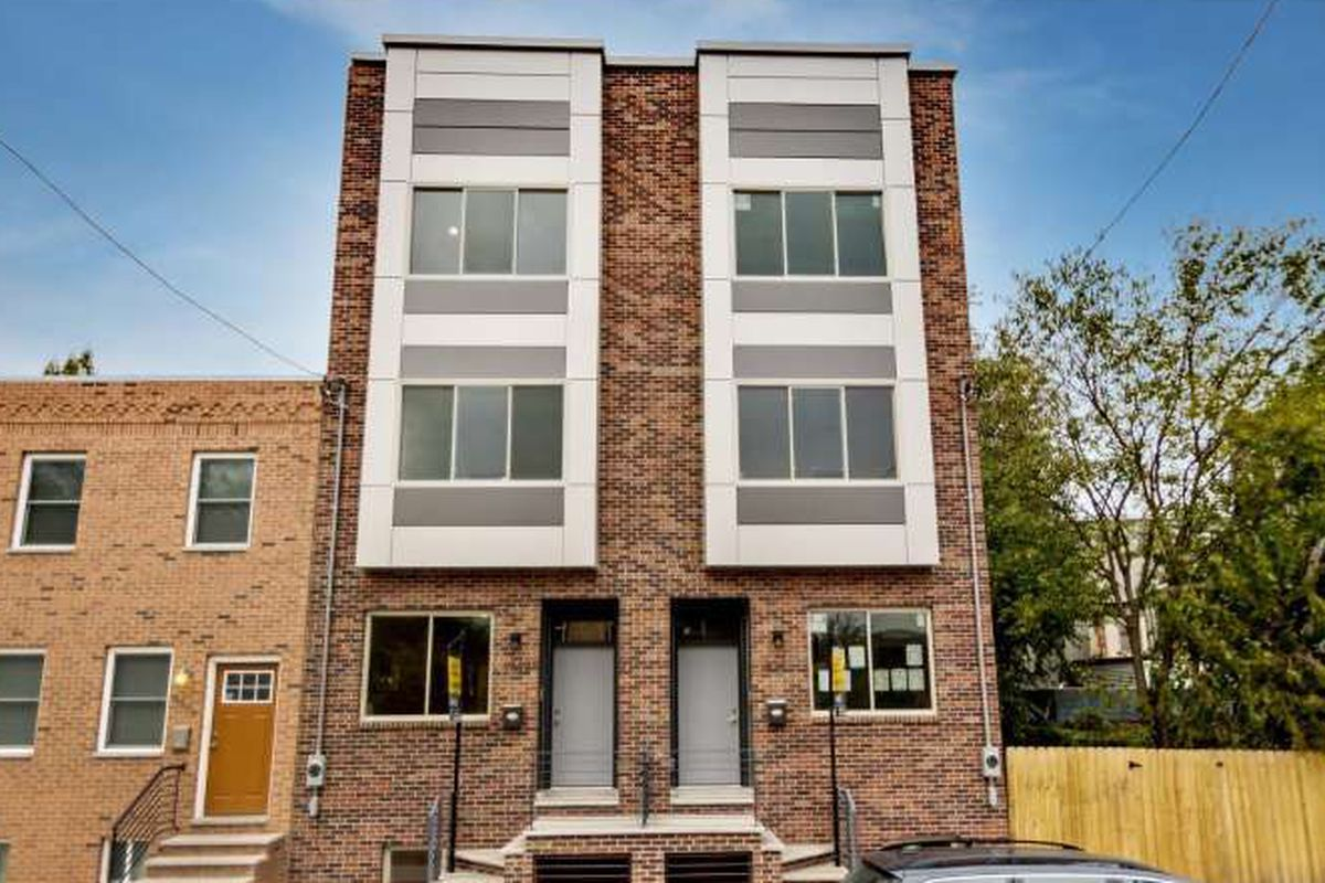 A newly-built set of rowhomes in Point Breeze.