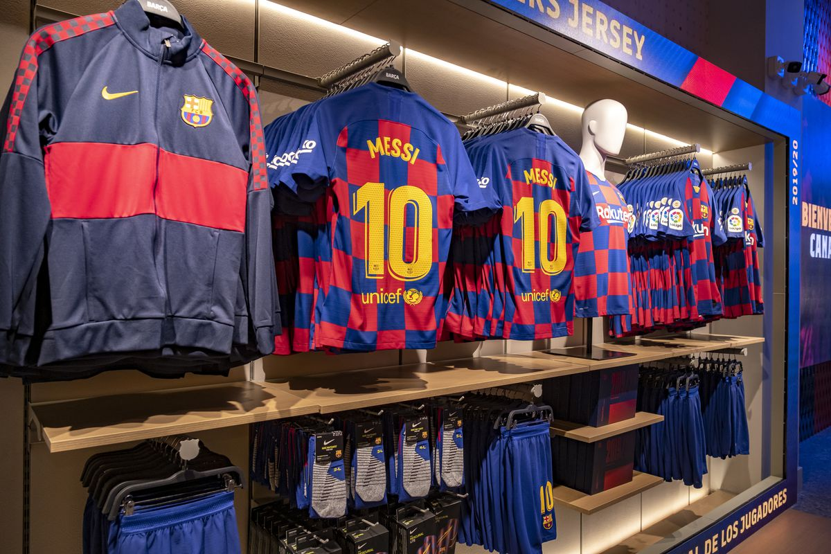 The new Club football kit with the number 10 of Messi the...