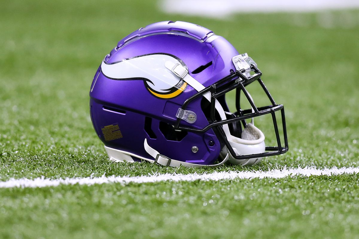 A Minnesota Vikings helmet is pictured against the New Orleans Saints during a game at the Mercedes Benz Superdome on January 05, 2020 in New Orleans, Louisiana.