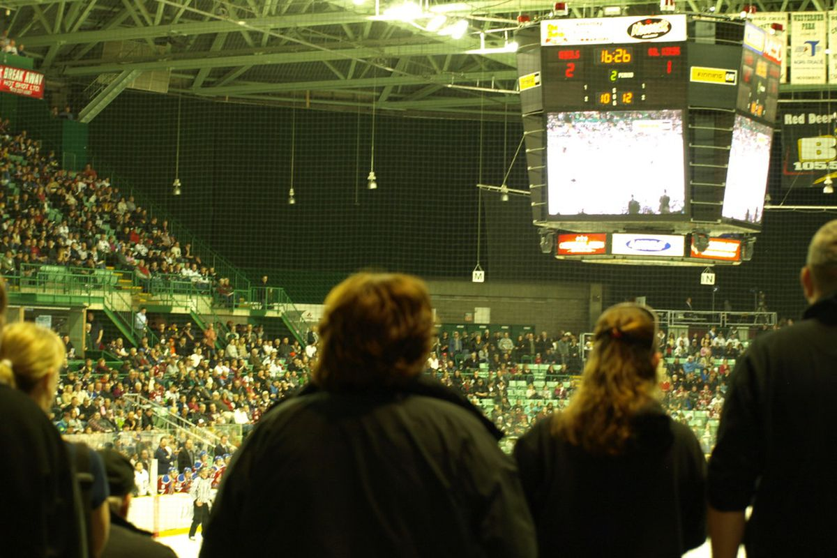 Hockey fans packed the house at the Enmax Centrium Arena in Red Deer Saturday night.
