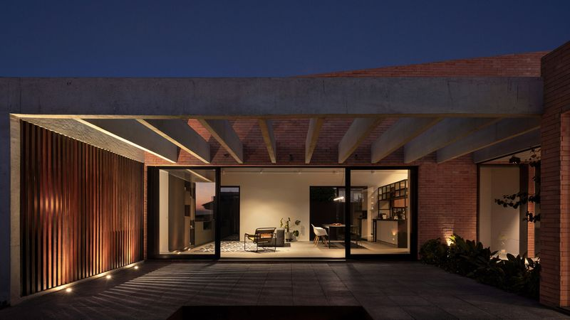 Courtyard with concrete covering overhead.