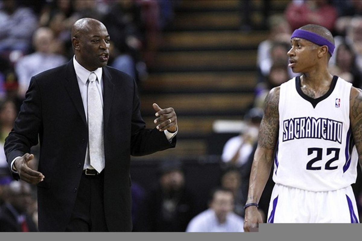 March 14, 2012; Sacramento, CA, USA; Sacramento Kings head coach Keith Smart speaks with point guard Isaiah Thomas (22) against the Detroit Pistons during the second quarter at Power Balance Pavilion. Mandatory Credit: Kelley L Cox-US PRESSWIRE