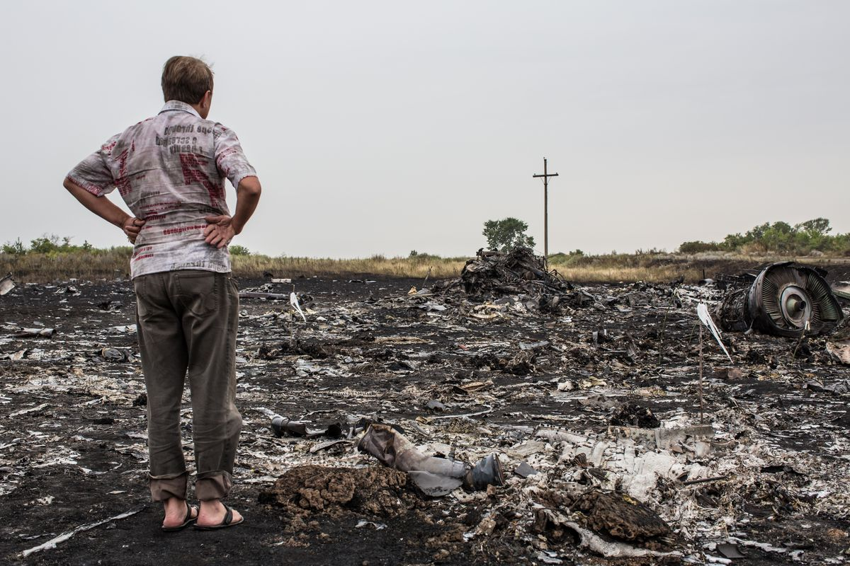 A man stares at the wreckage of Malaysian Airlines flight MH17 near Donestk, Ukraine.