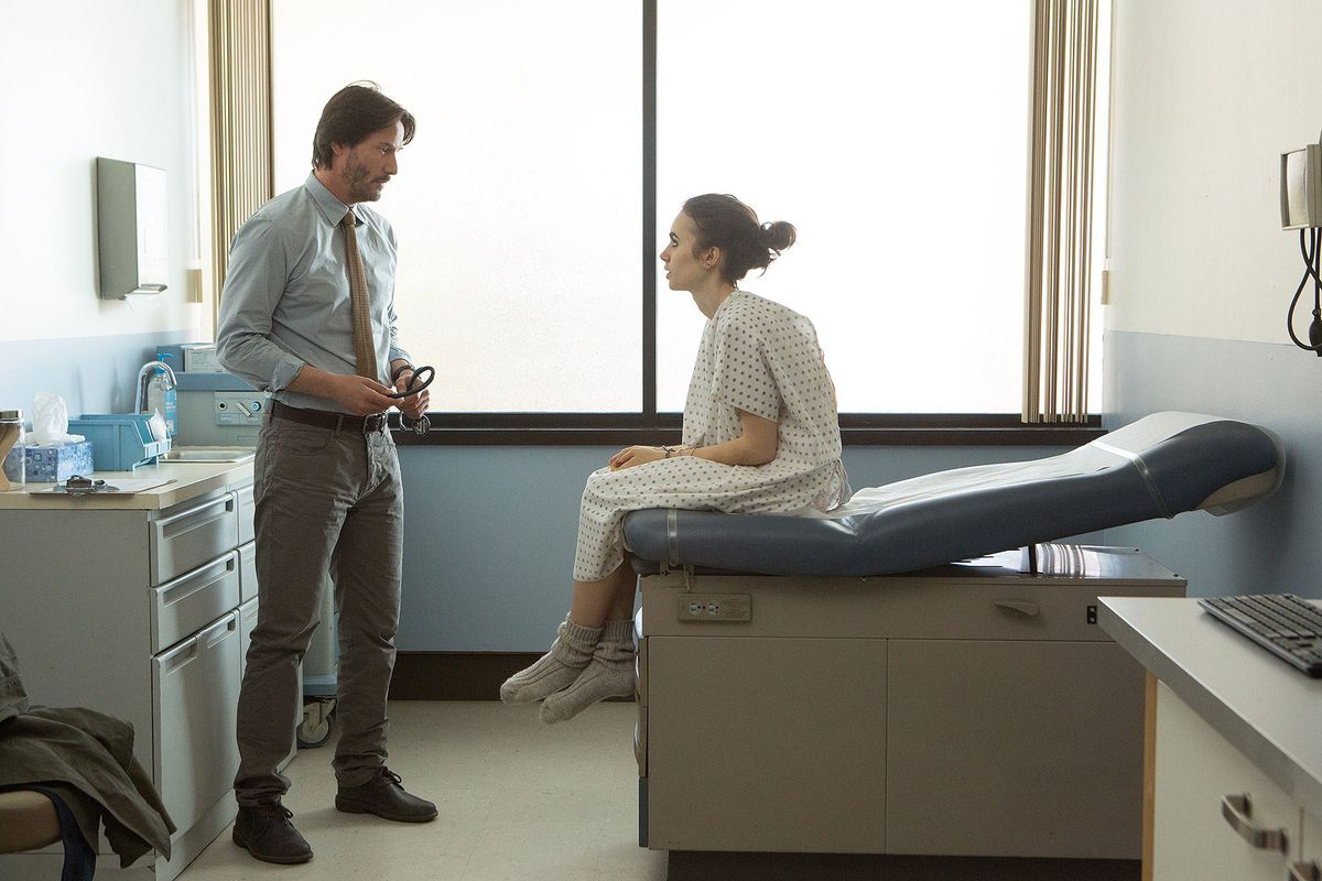 Keanu Reeves and Lily Collins in To the Bone