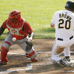Salt Lake's Matt Brown makes it safely home Sunday against the Sounds, helping the Bees earn an 11-4 victory.