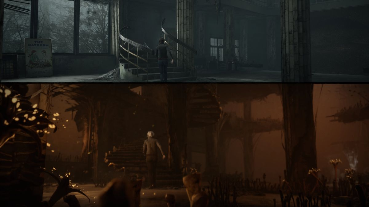 The Medium uses a split-screen effect to show the real world and the spirit world, both of which protagonist Marianne can navigate