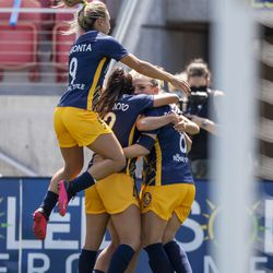 Utah Royals celebrate after a Utah Royals FC forward Amy Rodriguez (8) score giving them a 1-0 lead over Sky Blue during play in theNational Women's Soccer League Challenge Cup at Zions Bank stadium in Herriman on Saturday, July 4, 2020. Utah won 1-0.