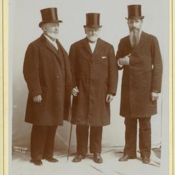 The First Presidency of The Church of Jesus Christ of Latter-day Saints on April 6, 1893: left to right, first counselor George Q. Cannon, President Wilford Woodruff, second counselor Joseph F. Smith.