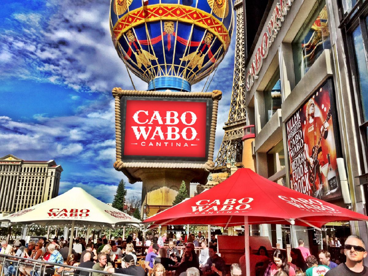 The exterior of Cabo Wabo Cantina in Las Vegas.