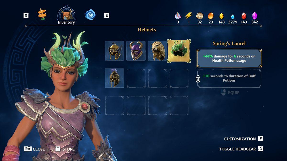 The Spring's Laurel helmet from Immortals Fenyx Rising
