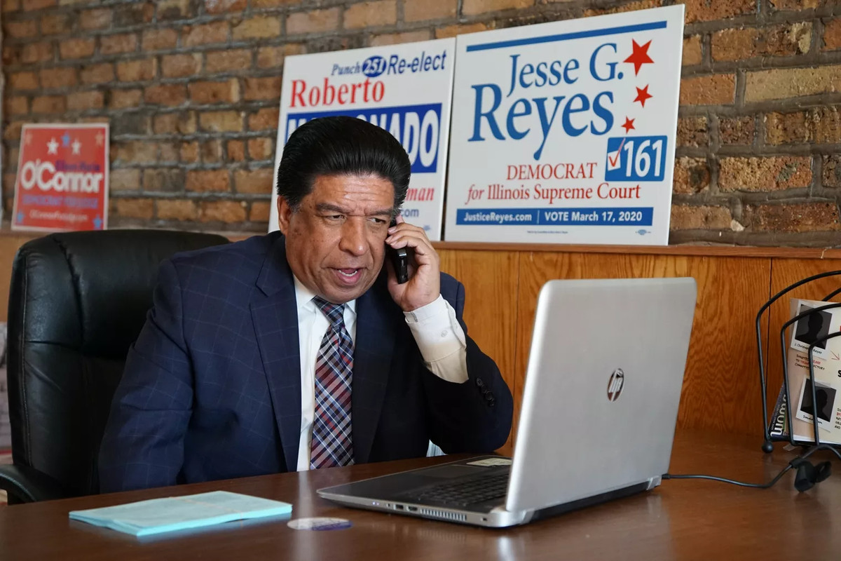 Appellate Justice Jesse G. Reyes making calls on Election Day, Tuesday March 17, 2020.
