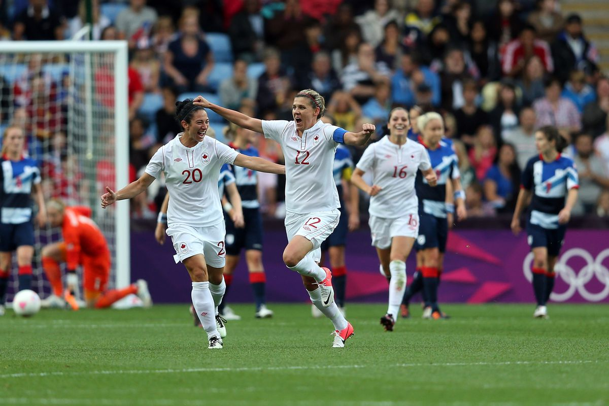 Sincy celebrating after scoring on Great Britain at London 2012