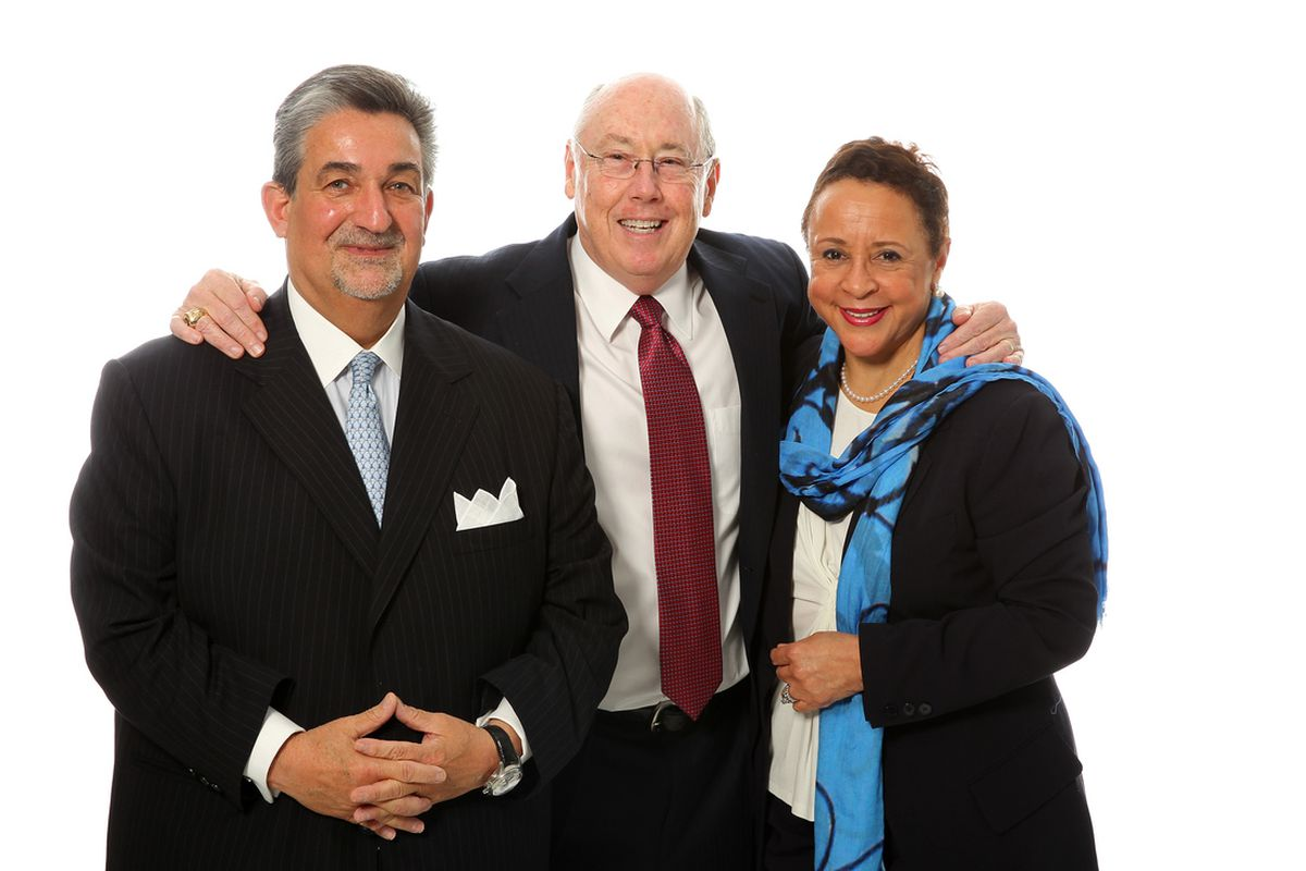 Mystics owner Ted Leonsis (left) and Team President Sheila Johnson (right) hope Mike Thibault (center) can make the right moves this offseason before the 2013 season.  The three Mystics fans in our roundtable also hope for the same.
