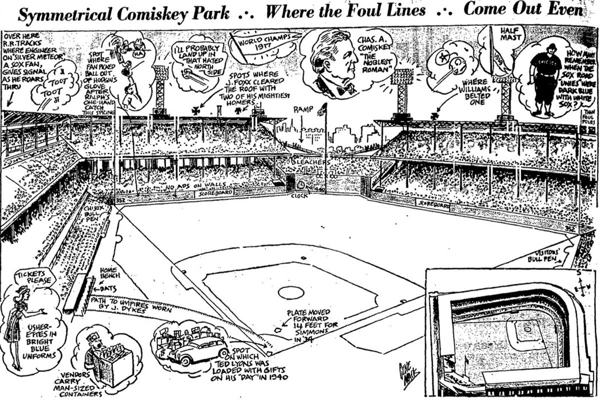 Comiskey Park illustration in The Sporting News, 1946 or 1947.
