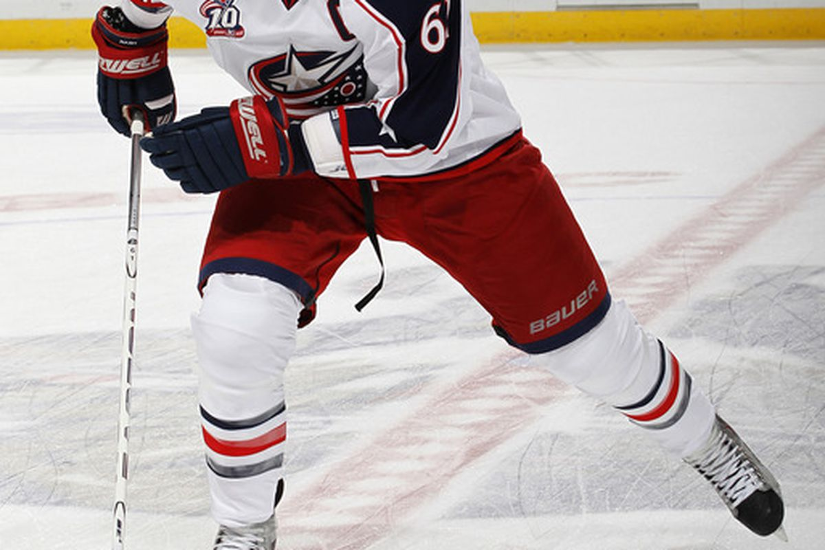 SUNRISE FL - JANUARY 19: Rick Nash #61 of the Columbus Blue Jackets skates prior to the NHL game against the Florida Panthers on January 19 2011 at the BankAtlantic Center in Sunrise Florida. (Photo by Joel Auerbach/Getty Images)