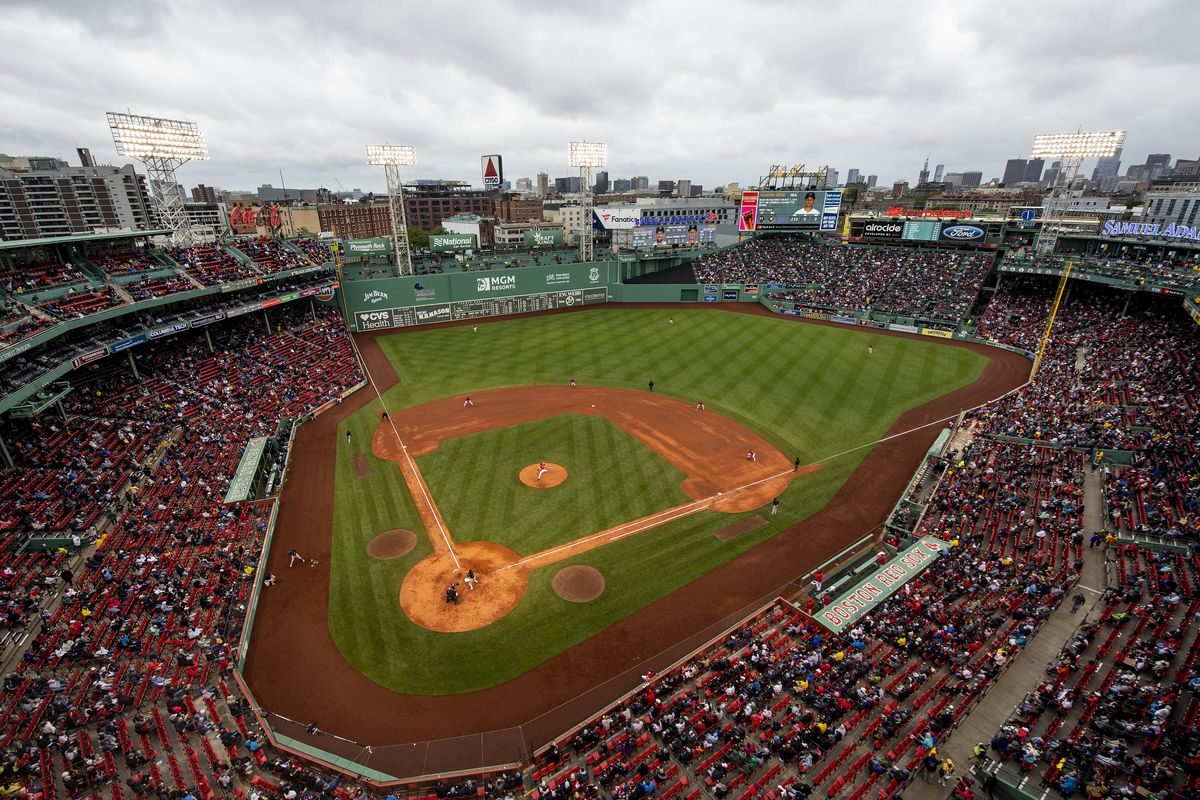 A general view inside Fenway Park during the first full capacity game following the Covid-19 pandemic prior to a game between the Boston Red Sox and the Miami Marlins