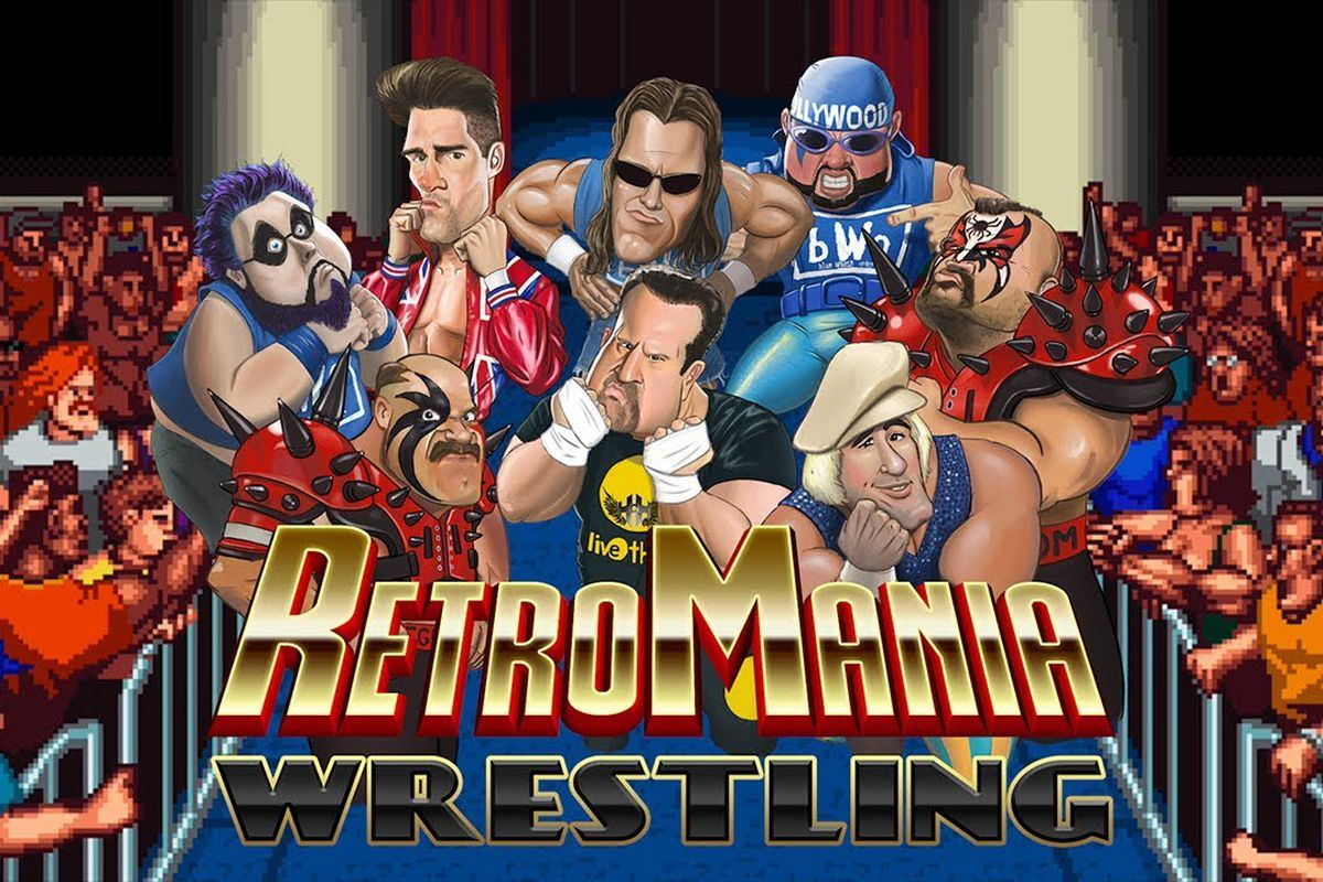Concept art montage showing the roster for RetroSoft's RetroMania Wrestling