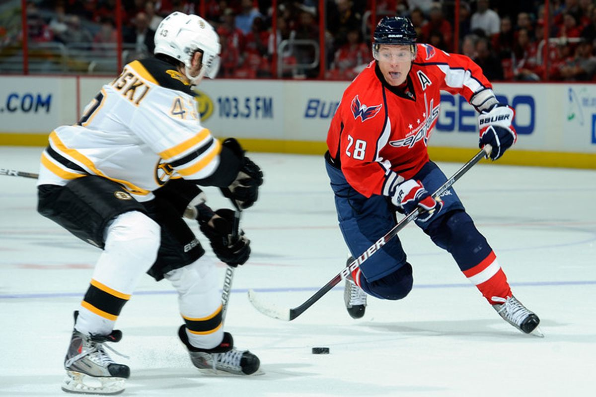 WASHINGTON - SEPTEMBER 28:  Alexander Semin #28 of the Washington Capitals brings the puck down the ice against the Boston Bruins at Verizon Center on September 28 2010 in Washington DC.  (Photo by Greg Fiume/Getty Images)