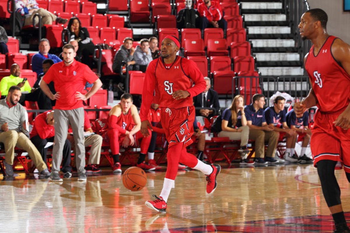 Red Storm point guard Marcus LoVett brings the ball up at the Red White Scrimmage.