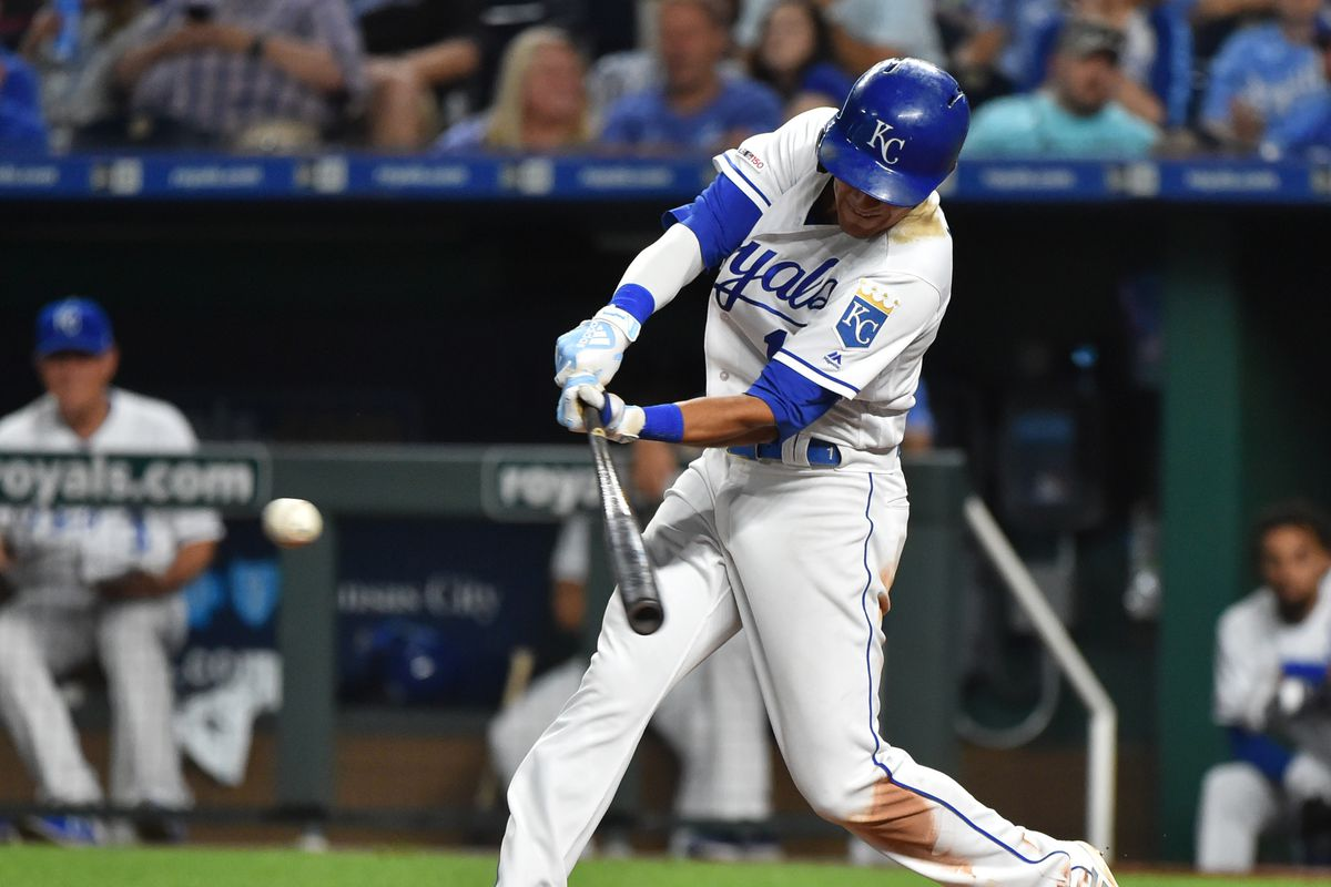 Nicky Lopez #1 of the Kansas City Royals hits a RBI single in the sixth inning against the Chicago White Sox at Kauffman Stadium on July 15, 2019 in Kansas City, Missouri.