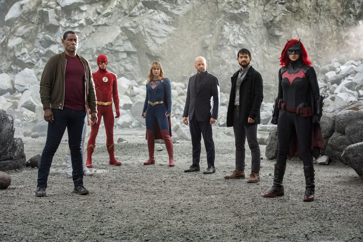 David Harewood as Hank Henshaw/J'onn J'onzz, Grant Gustin as The Flash, Melissa Benoist as Kara/Supergirl, Jon Cryer as Lex Luthor, Osric Chau as Ryan Choi and Ruby Rose as Kate Kane/Batwoman in Crisis on Infinite Earths.